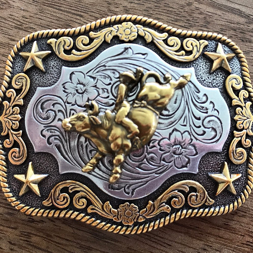 Bull buckle filigree gold and silver