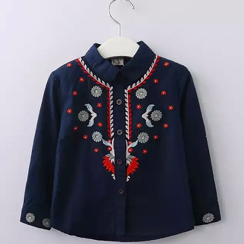 Cotton Floral Embroidered collar shirt
