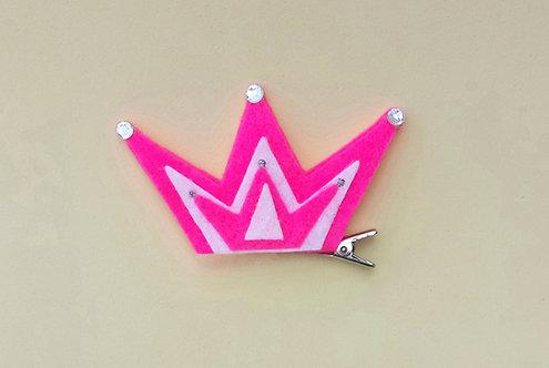 Presilha Coroa Feltro Pink
