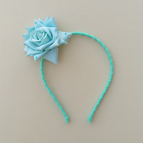Tiara Verde Turquesa Flor Rosa acessórios para meninas moda infantil feminina