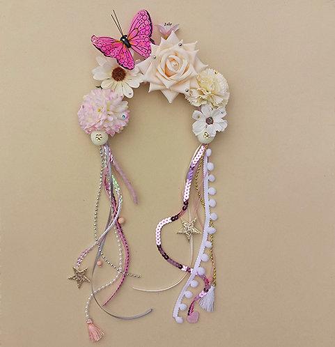 Tiara Borboleta Rosa com Flores acessórios femininos moda infantil carnaval arco de cabeça