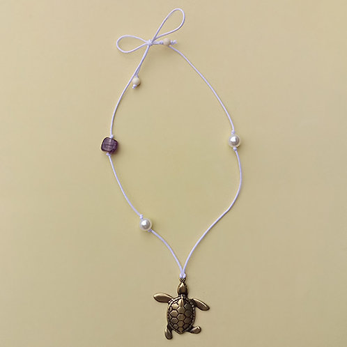 Colar Branco Tartaruga moda feminina acessórios para meninas moda infantil