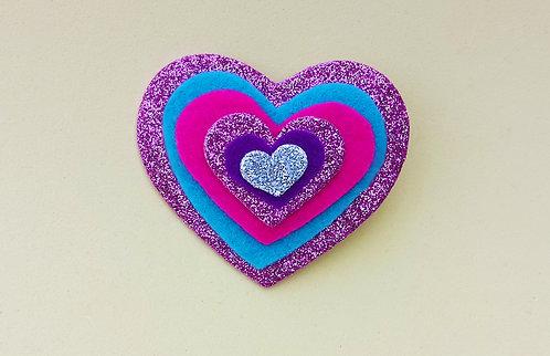 Presilha 6 Corações Glitter Rosa