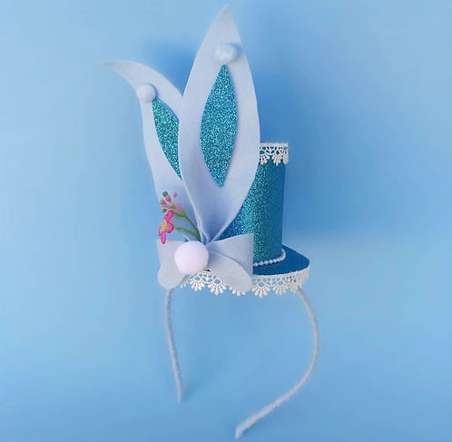 Tiara Cartola Coelhinho Azul acessórios femininos moda infantil arco de cabeça pascoa