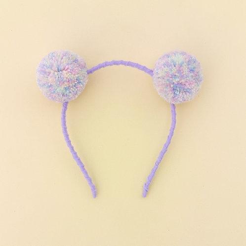 Tiara Pompom cor pastel acessórios infantil moda feminina
