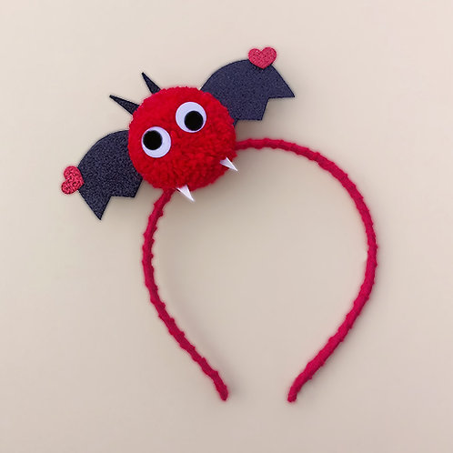 Tiara Morcego Vermelho Halloween dia das bruxas acessórios para meninas acessórios femininos moda infantil