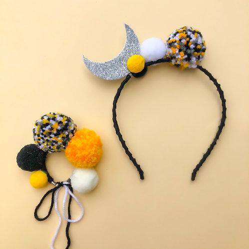 Tiara Lua Bracelete acessórios para meninas enfeite de cabelo enfeite de cabeça acessório de cabeça arco carnaval fantasia