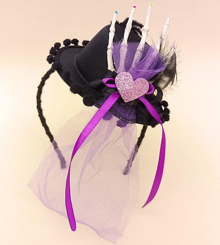 Tiara Chapéu Mão de Caveira moda feminina infantil acessórios para meninas dia das bruxas parte de trás