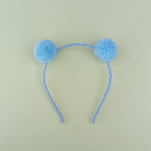 Tiara Pompom Azul Bebê acessórios para meninas moda infantil