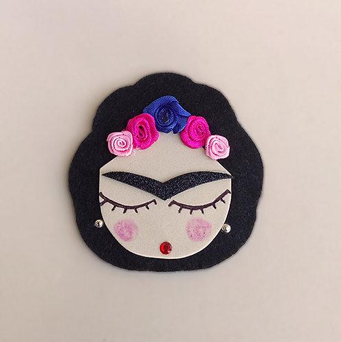 Presilha Frida Kahlo acessório feminino,moda para meninas, acessório para meninas, enfeite de cabelo, moda infantil