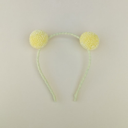 Tiara Pompom Amarelo Bebê acessórios para meninas moda infantil