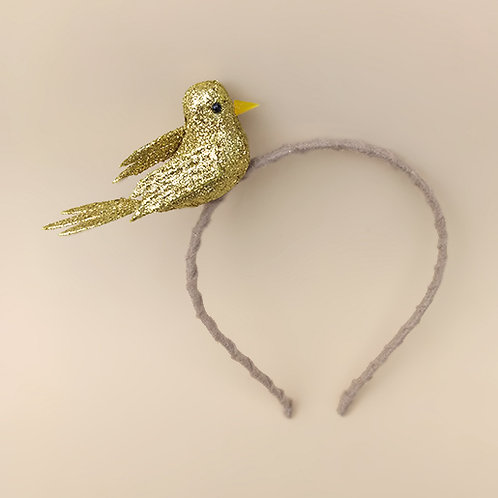 Tiara Pássaro Glitter Dourado moda feminina moda infantil acessórios para meninas