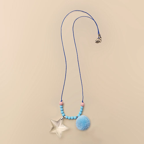 Colar Azul Estrela Cristal com Pompom moda feminina acessórios para meninas moda infantil