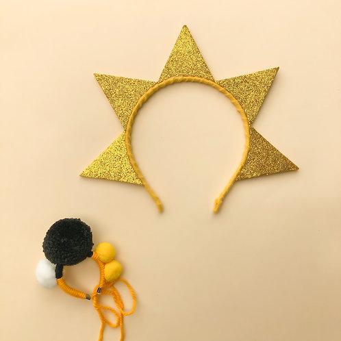 Tiara Sol acessórios para meninas enfeite de cabelo enfeite de cabeça acessório de cabeça arco carnaval fantasia