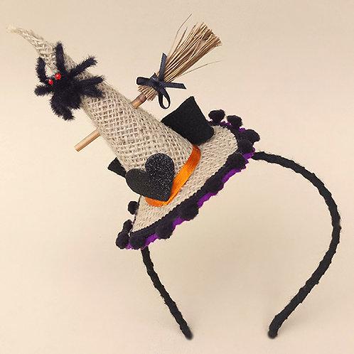 Tiara Bruxinha Halloween moda feminina infantil acessórios para meninas dia das bruxas frente