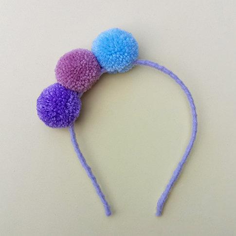 Tiara 3 Pompons moda infantil feminina acessórios para meninas