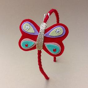 Tiara Borboleta Vermelha moda feminina infantil acessórios para meninas