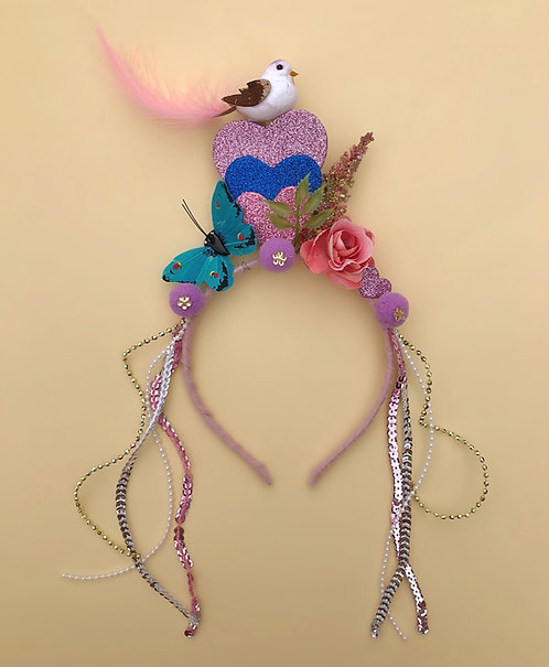 Tiara pássaro borboleta acessório para meninas, acessório de cabelo, moda feminina , arco, carnaval