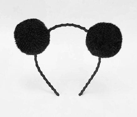 Tiara pompom preto enfeite de cabeça