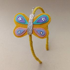 Tiara Borboleta Amarela moda feminina acessórios para meninas moda infantil
