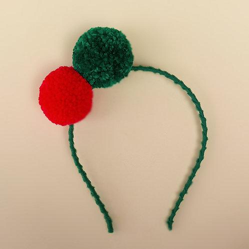 Tiara Pompom Verde e Vermelho moda feminina acessórios para meninas moda infantil presilha natal