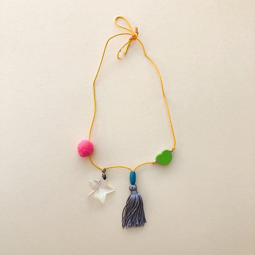 Colar Amarelo Estrela Cristal com Pompom moda feminina acessórios para meninas moda infantil
