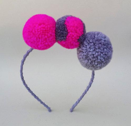 Tiara pompom pink cinza e mesclado enfeite de cabeça