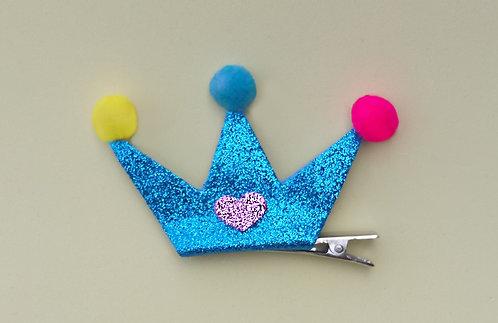 Presilha Coroa Glitter Azul
