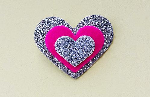 Presilha 3 Corações Glitter Prata