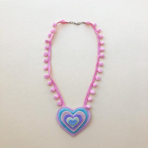 Colar Rosa Coração moda feminina acessórios para meninas moda infantil fashion