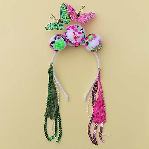 Tiara Borboleta Rosa e Verde Pompom Mesclado acessórios femininos moda infantil carnaval arco de cabeça