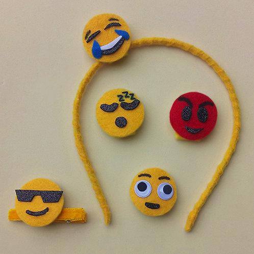 Tiara presilha emojis enfeite cabeça acessório infantil