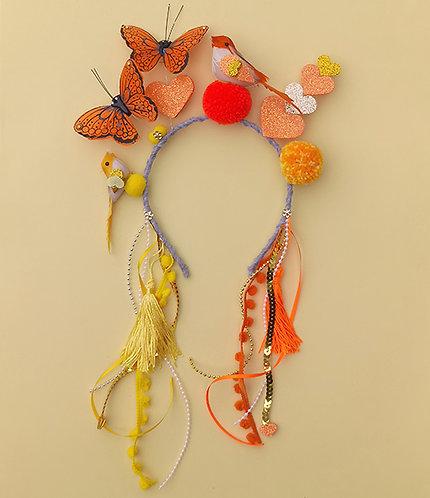 Tiara Borboleta Laranja com Passarinhos acessórios femininos moda infantil arco de cabeça carnaval