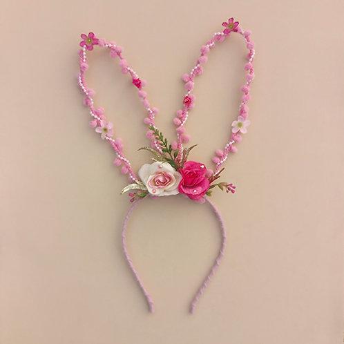 Tiara Coelhinho com Flores acessórios femininos moda infantil arco de cabeça pascoa