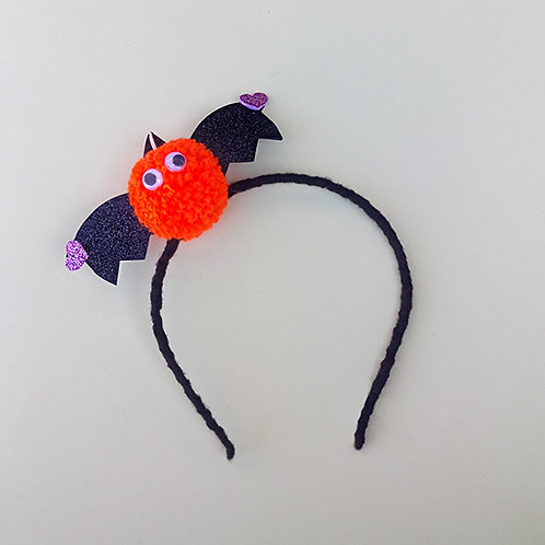 Tiara Morcego Laranja Halloween moda feminina infantil acessórios para meninas dia das bruxas