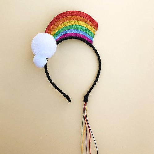Tiara Arco Íris acessórios femininos moda infantil arco de cabeça enfeite de cabelo, enfeite de cabeça