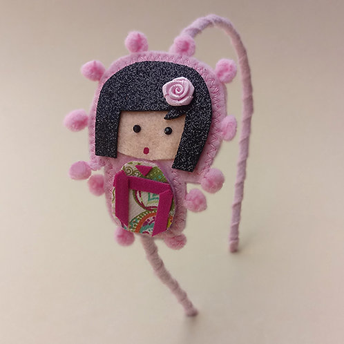 Tiara Kokeshi Rosa moda feminina infantil acessórios para meninas estilo boneca japonesa