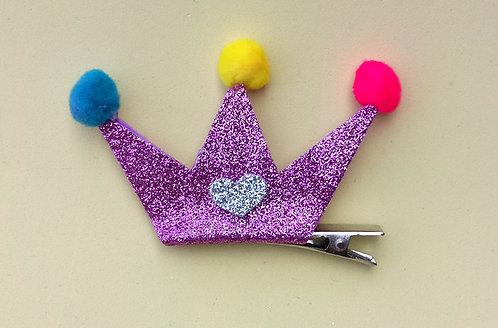Presilha Coroa Glitter Roxa