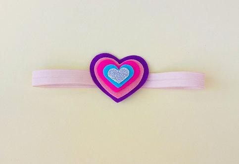 Faixa Elástico Rosa Corações