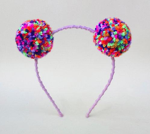 Tiara Pompom Mesclado Colorido (10 cores)