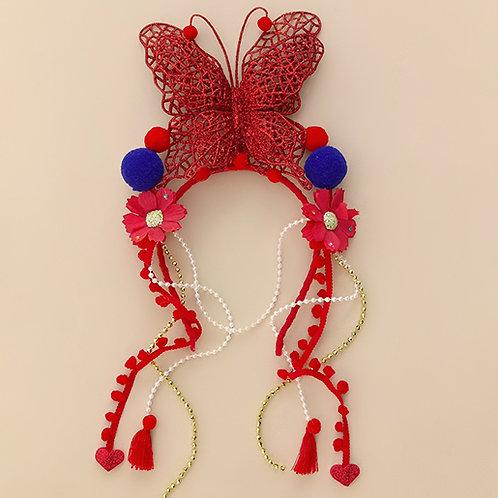 Tiara Flores Borboleta  acessórios femininos moda carnaval moda infantil