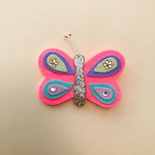 Presilha Borboleta Rosa moda feminina acessórios para meninas moda infantil enfeite de cabelo enfeite de cabeça moda fashion
