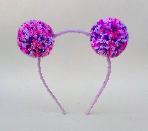 Tiara pompom mesclado pink rosa branco e roxo enfeite de cabeça