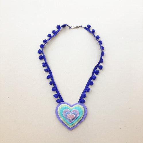 Colar Roxo Coração moda feminina acessórios para meninas moda infantil fashion