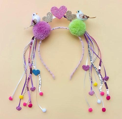Tiara Pássaro Amor acessórios para meninas enfeite de cabelo enfeite de cabeça acessório de cabeça arco carnaval fantasia