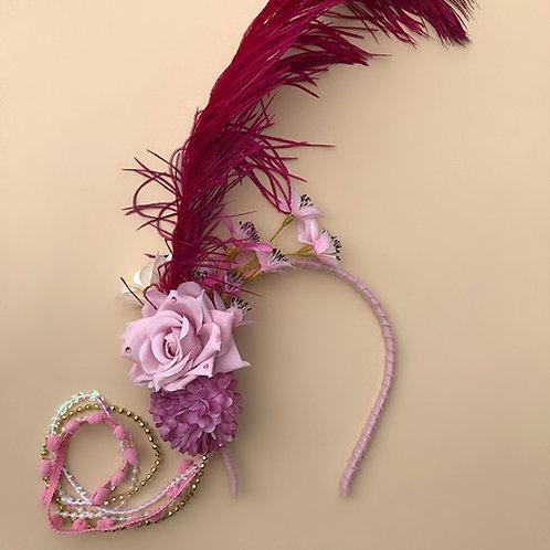 Tiara Flor Rosa com Pluma acessórios femininos moda carnaval