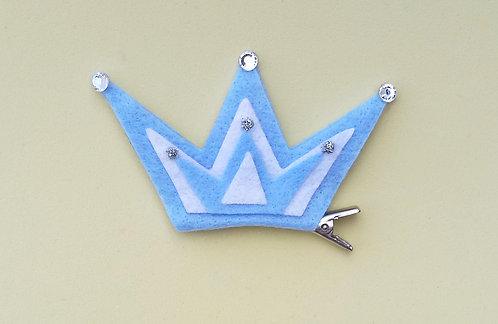 Presilha Coroa Feltro Azul