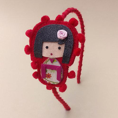 Tiara Kokeshi Vermelha moda feminina infantil acessórios para meninas estilo boneca japonesa