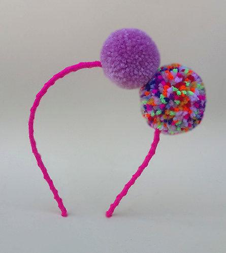 Tiara pompom lilás e mesclado 10 cores enfeite de cabeça