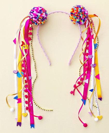 Tiara Pompom com fitas Carnaval Festa Junina acessórios para meninas